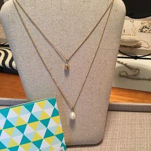NWB Stella & Dot Delicate Double Pearl Pendant